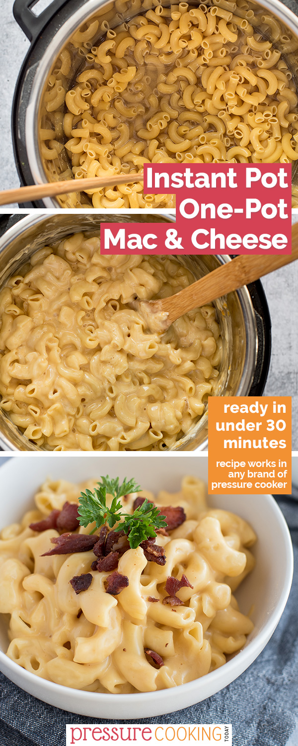 This Instant Pot Mac and Cheese is SUPER easy and made using just pantry staples, spices, and shredded cheese. (If you have bacon on-hand, it's an amazing addition.) You would never guess that the sauce uses canned ingredients! via @PressureCook2da