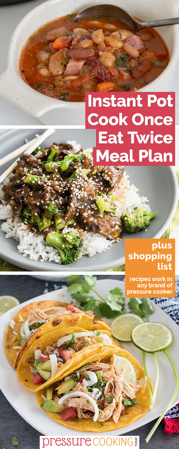 Three meals featured in the Instant Pot Meals with Leftovers Meal Plan, including 15 bean soup, beef and broccoli, and shredded chicken tacos