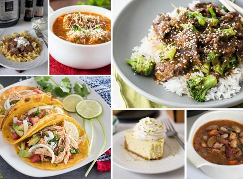 Collage image for the Instant Pot Meal Plan with Leftovers post, featuring beef stroganoff, meatball soup, beef and broccoli, chicken taco filling, keylime pie, and 15 bean soup.