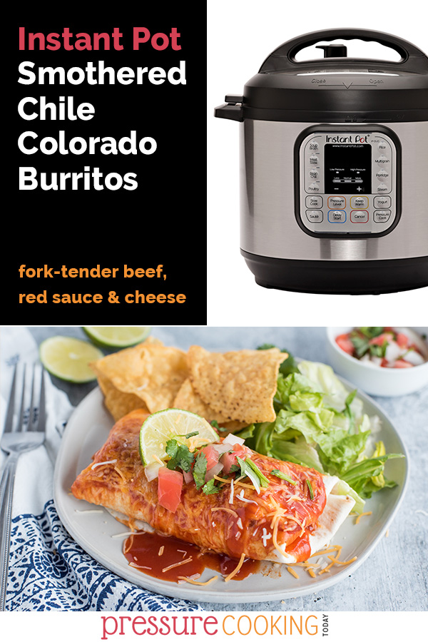 Pinterest collage displaying an Instant Pot electric pressure cooker and a dish of instant pot Chile Colorado smothered burritos