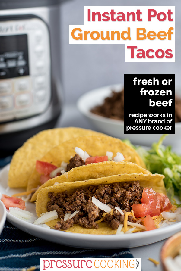 Instant Pot Ground Beef Tacos cook up quick and easy in your pressure cooker. Top with your favorite toppings and have dinner ready in under 30 minutes! via @PressureCook2da