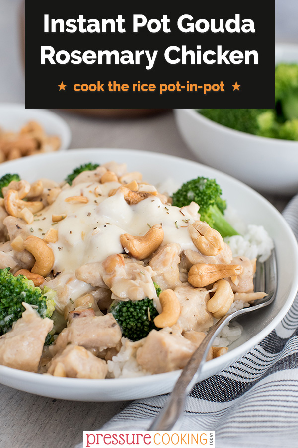Instant Pot Gouda rosemary chicken served in a bowl with rice and broccoli. via @PressureCook2da