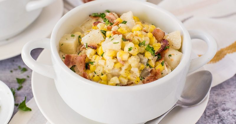 instant pot corn chowder in a white bowl